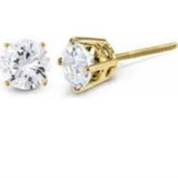 dainty earrings yellow set diamond chapelle gold stud
